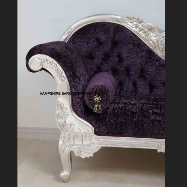 A Beautiful Silver Leaf and Purple Crushed Velvet Designers Chaise5