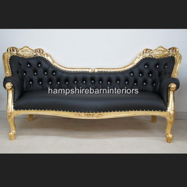 A Berkeley Club Salon 3 piece Suite in Gold Leaf & Black Faux Leather with diamond crystal buttons