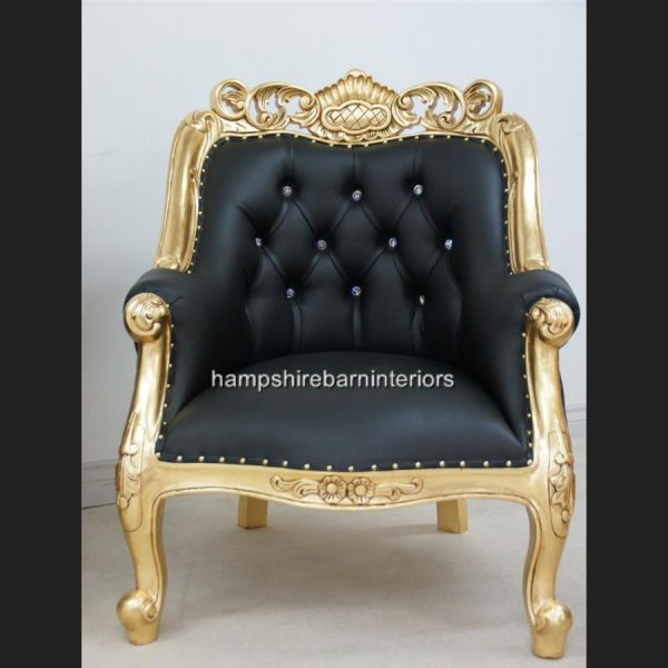 A Berkeley Club Salon 3 piece Suite in Gold Leaf & Black Faux Leather with diamond crystal buttons.fddf