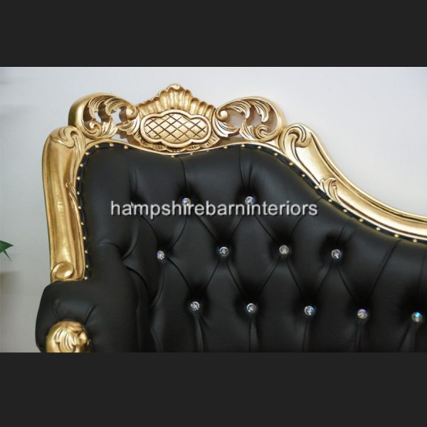 A Berkeley Club Salon 3 piece Suite in Gold Leaf & Black Faux Leather with diamond crystal buttons6