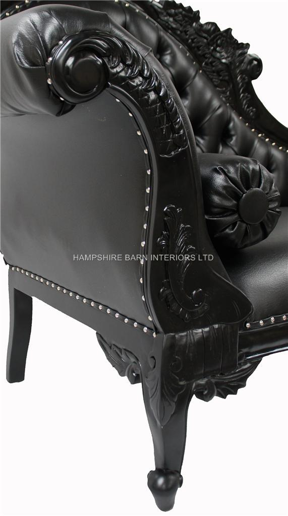 A Black Beauty Diamond Hampshire chaise (Large) shown with black gloss frame , black velvet and diamond crystal buttoning 6