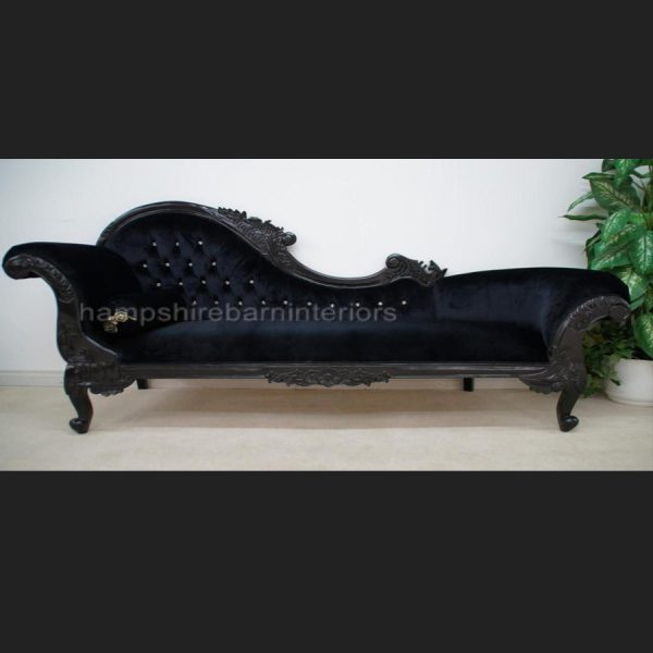 A Black Beauty Diamond Hampshire chaise (Large) shown with black gloss frame , black velvet and diamond crystal buttoning
