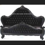 A Charles French Louis Style Bed In Gloss Black and upholstered in black velvet with CRYSTAL buttoning1