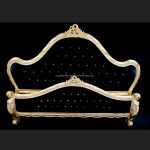 A Charles French Louis Style Bed In Gold Leaf and upholstered in a black velvet fabric with crystals1