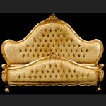 A Charles French Louis Style Bed In Gold Leaf and upholstered in a champagne crushed velvet fabric1