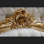 A Charles French Louis Style Bed In Gold Leaf and upholstered in an ivory fabric4