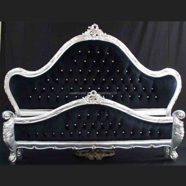 A Charles French Louis Style Bed In Silver Leaf and upholstered in black velvet with CRYSTAL buttoning1