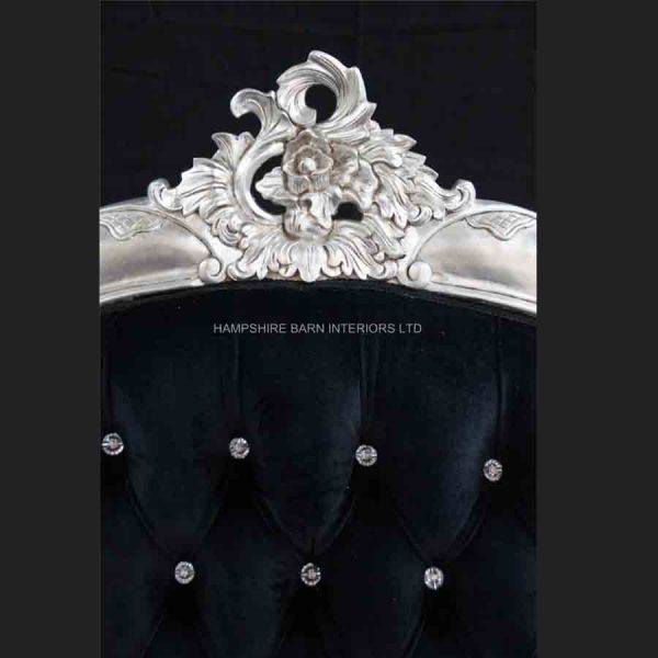 A Charles French Louis Style Bed In Silver Leaf and upholstered in black velvet with CRYSTAL buttoning3
