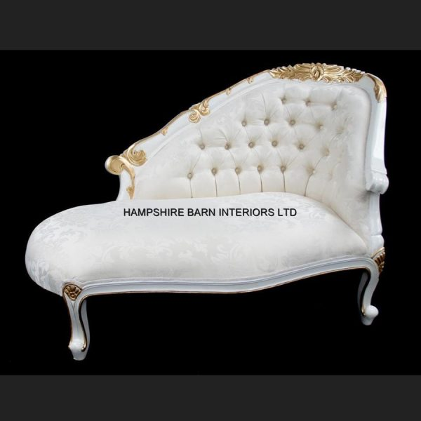 A Chatsworth Love Seat in White and Gold frame with ivory fabric1