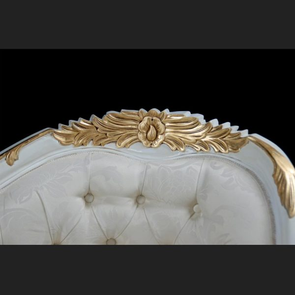 A Chatsworth Love Seat in White and Gold frame with ivory fabric4