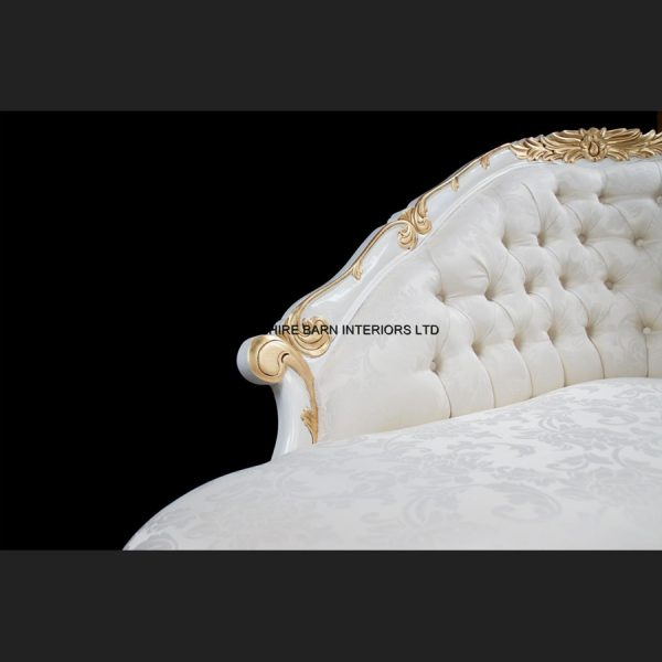 A Chatsworth Love Seat in White and Gold frame with ivory fabric5
