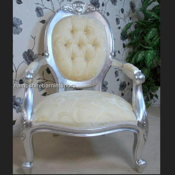 A Chatsworth arm throne chair in Silver Leaf Crystal buttons and cream fabric1