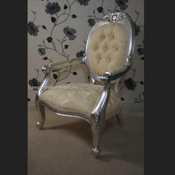 A Chatsworth arm throne chair in Silver Leaf Crystal buttons and cream fabric3