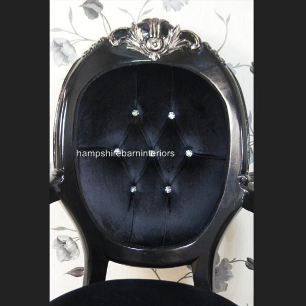 A Chatsworth arm throne chair in silvered black finish with Crystal buttons and BLACK VELVET2
