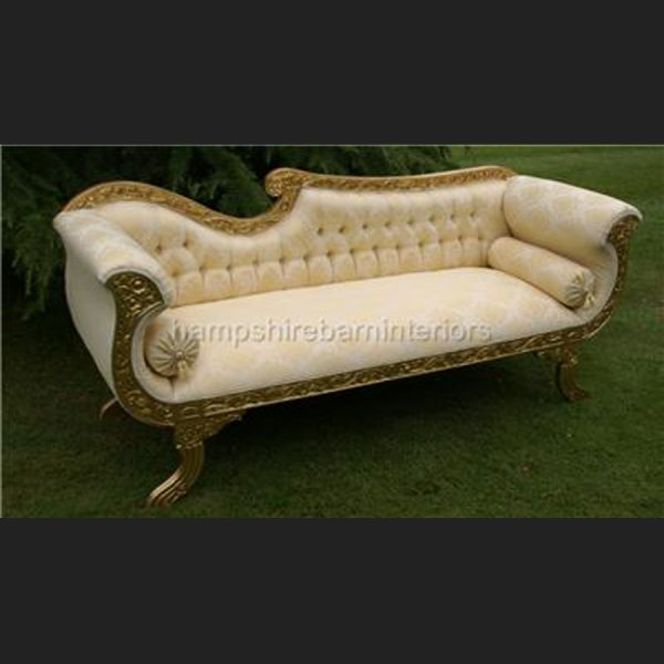 A DIAMOND WEDDING CHAISE LONGUE GOLD LEAF W CRYSTAL BUTTONS MARBELLA GOLD 5