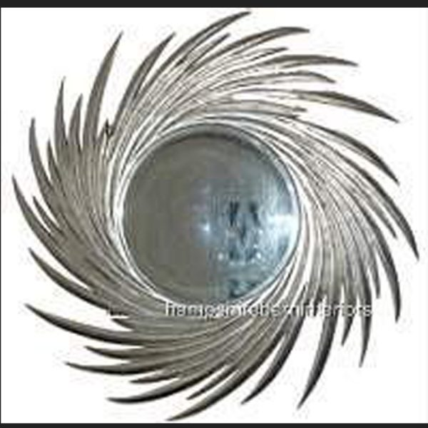 A Designers Large Moon burst mirror in silver leaf3