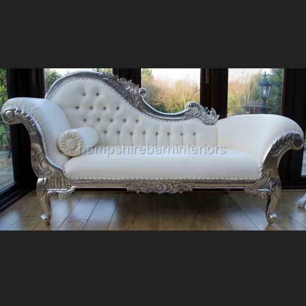 A Diamond Silver Leaf medium Hampshire Chaise with CREAMY WHITE faux leather and crystal buttons1