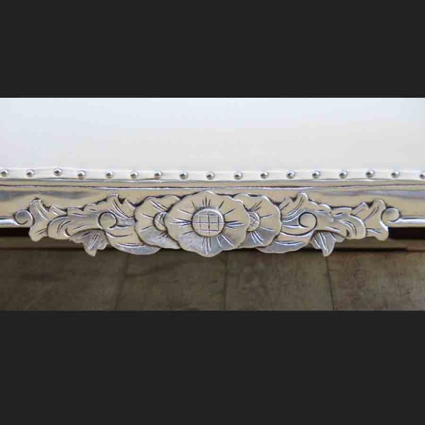 A Diamond Silver Leaf medium Hampshire Chaise with CREAMY WHITE faux leather and crystal buttons3