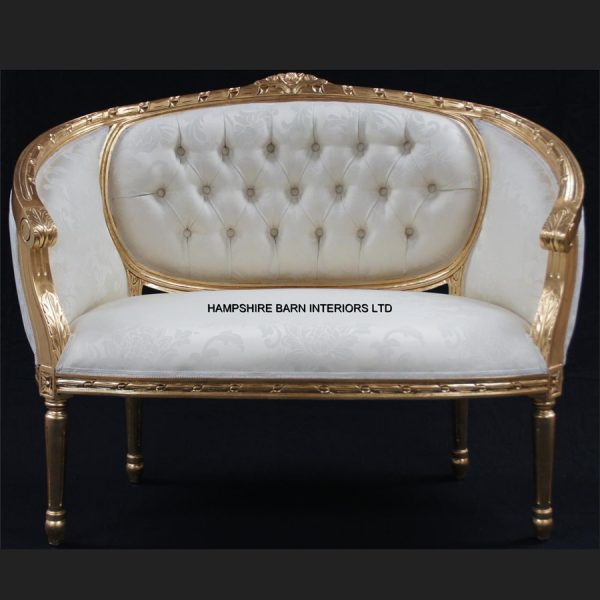 A Double Ended Gold Ivory French Louis Ornate Chaise Longue Sofa Home Salon1
