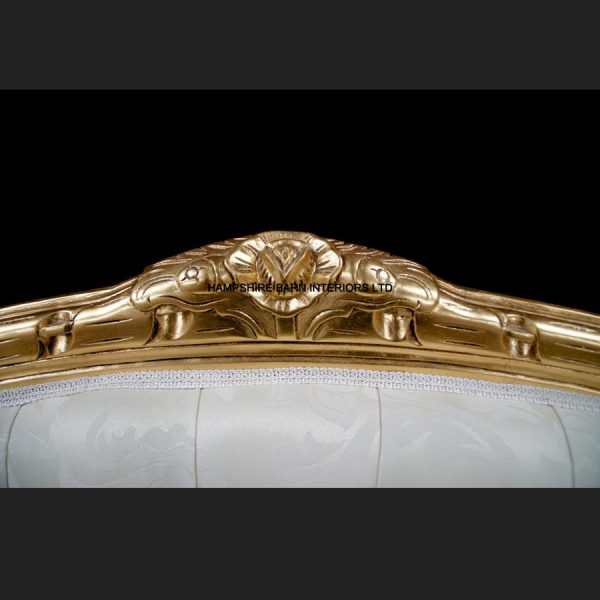 A Double Ended Gold Ivory French Louis Ornate Chaise Longue Sofa Home Salon2
