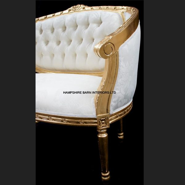 A Double Ended Gold Ivory French Louis Ornate Chaise Longue Sofa Home Salon5