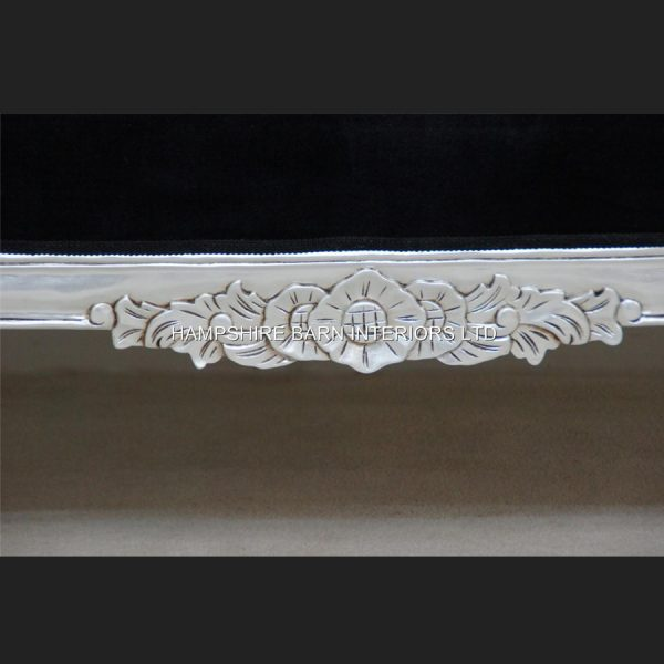 A Double Ended silver black velvet French Hampshire Crystal Ornate Chaise Longue Sofa Home Salon 33
