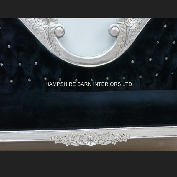 A Double Ended silver black velvet French Hampshire Crystal Ornate Chaise Longue Sofa Home Salon 44