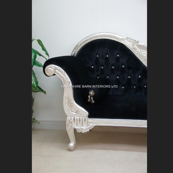 A Double Ended silver black velvet French Hampshire Crystal Ornate Chaise Longue Sofa Home Salon66