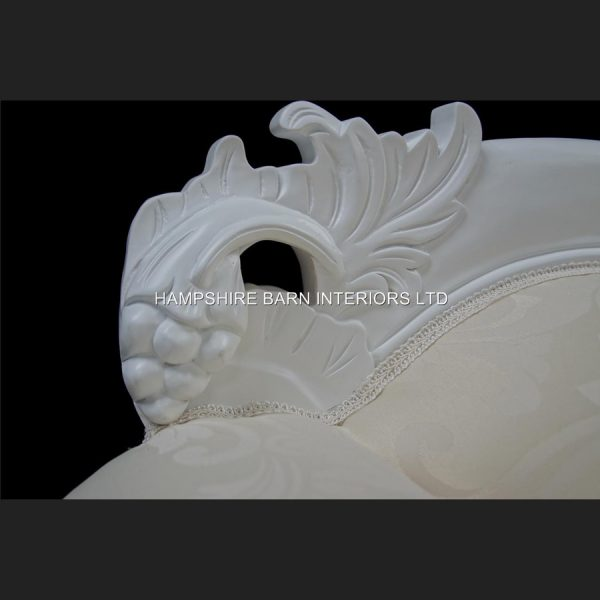 A French Chateau Style Ornate Amberley LARGE Chaise Longue in Antique White and ivory fabric 7