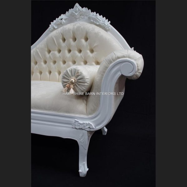 A French Chateau Style Ornate Amberley LARGE Chaise Longue in Antique White and ivory fabric1