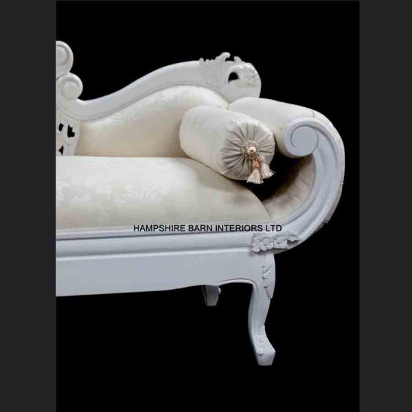 A French Chateau Style Ornate Amberley MEDIUM Chaise Longue in Antique White and ivory fabric5