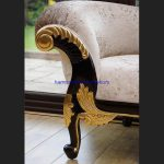 A GOLD LEAF AND MAHOGANY HAMPSHIRE CHAISE LARGE SIZE in mink crushed velvet33
