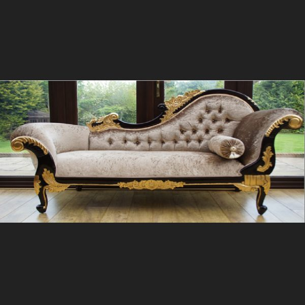 A GOLD LEAF AND MAHOGANY HAMPSHIRE CHAISE LARGE SIZE in mink crushed velvet
