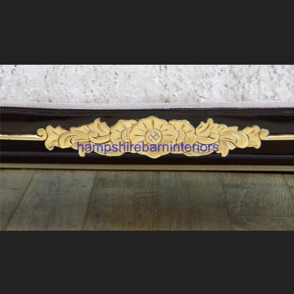 A GOLD LEAF AND MAHOGANY HAMPSHIRE CHAISE LARGE SIZE in mink crushed velvet5