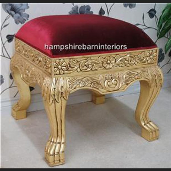 A GOLD LEAF HEAVILY CARVED WEDDING OR EVENT OR HOME STOOL2
