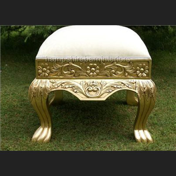 A GOLD LEAF HEAVILY CARVED WEDDING OR EVENT OR HOME STOOL3