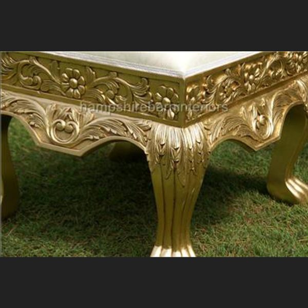 A GOLD LEAF HEAVILY CARVED WEDDING OR EVENT OR HOME STOOL5