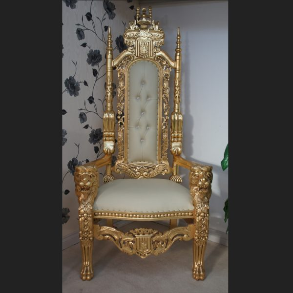 A GOLD LION KING THRONE CHAIR Choice of Fabrics with Diamond Crystal Buttons2