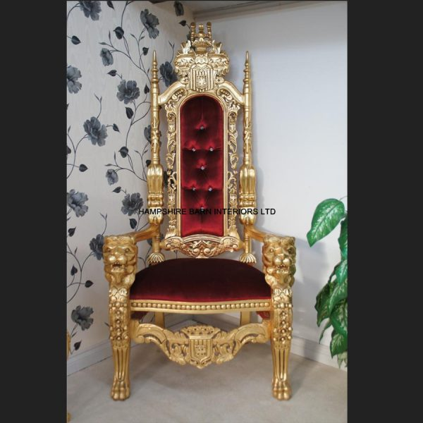A GOLD LION KING THRONE CHAIR Choice of Fabrics with Diamond Crystal Buttons4