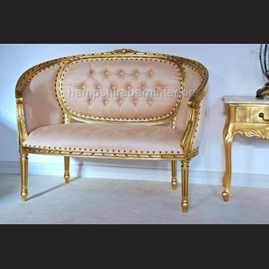 Love Sofa Dimensions: A Gold Leaf Double Ended Chaise Longue Love Seat Small