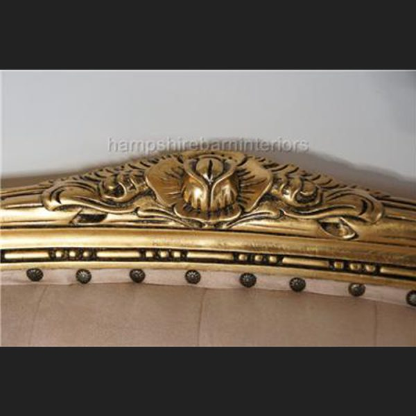 A Gold Leaf double ended Chaise longue Love Seat Small Sofa CREAM Fabric2