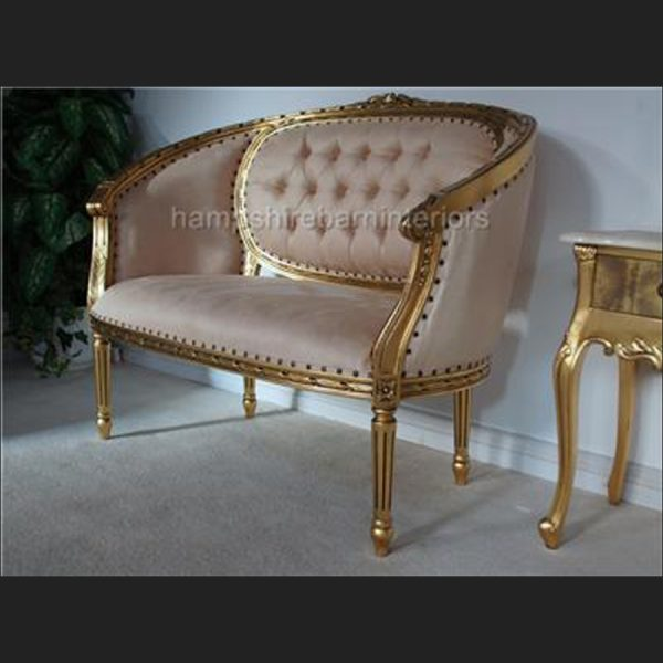 A Gold Leaf double ended Chaise longue Love Seat Small Sofa CREAM Fabric3
