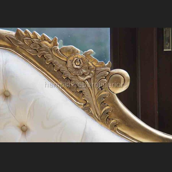A Gold leaf medium Hampshire chaise in cream or gold fabric3