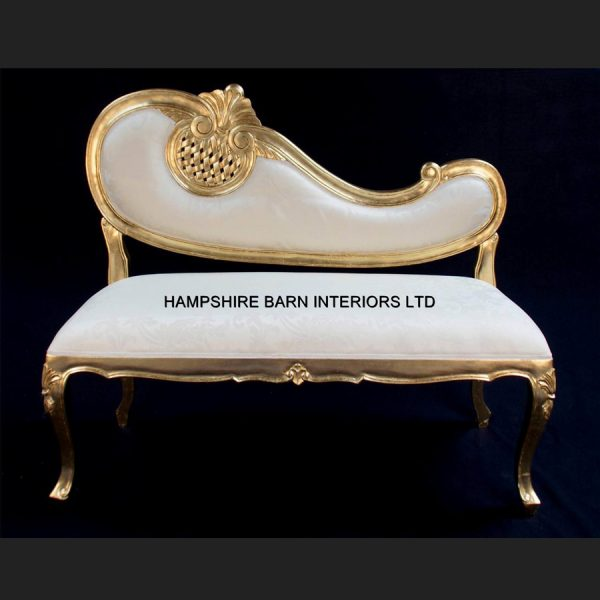 A HARP LOVE SEAT SOFA CHAISE either Gold or Silver Leaf3