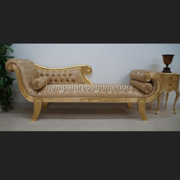 A KNIGHTSBRIDGE chaise longue lounge sofa in GOLD LEAF and GOLD fabric