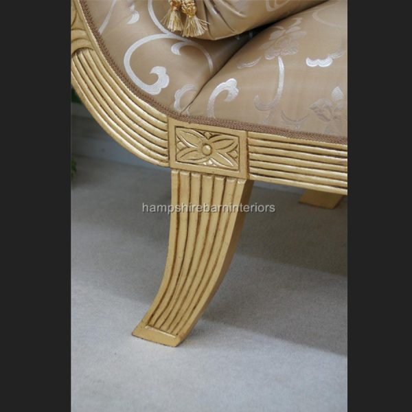 A KNIGHTSBRIDGE chaise longue lounge sofa in GOLD LEAF and GOLD fabric6