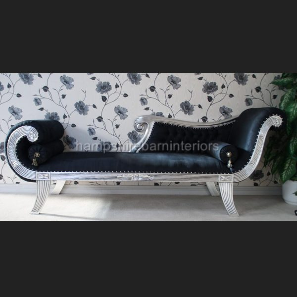 A KNIGHTSBRIDGE chaise longue lounge sofa in SILVER LEAF and BLACK fabric