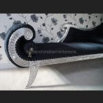 A KNIGHTSBRIDGE chaise longue lounge sofa in SILVER LEAF and BLACK fabric3