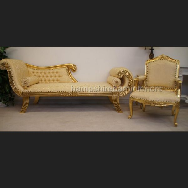 A Knightsbridge three piece suite set (one chaise plus two matching chairs) Gold Leaf4