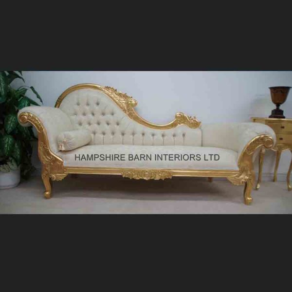 A Large Diamond Gold Leaf Hampshire Chaise Longue with cream1